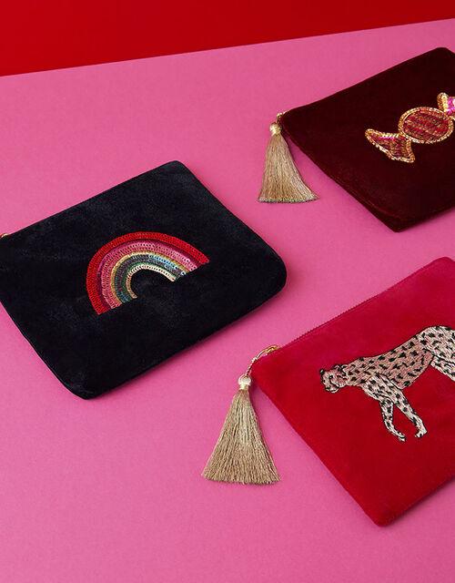Embellished Sweet Velvet Pouch Bag, , large