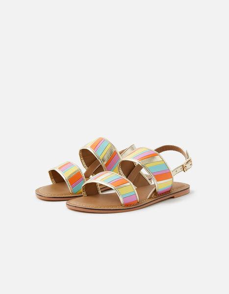 Rainbow Stripe Sandals Multi, Multi (BRIGHTS-MULTI), large
