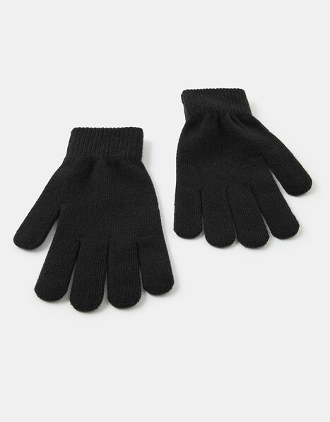 Super-Stretch Knit Gloves Black, Black (BLACK), large