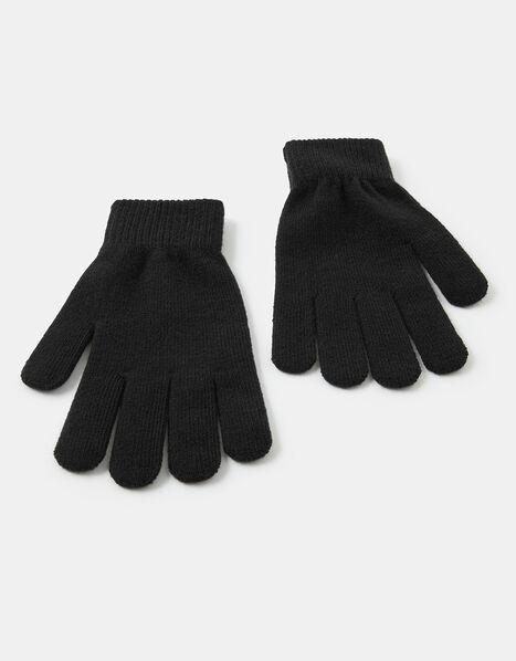 Super-Stretch Knit Gloves Black, Black (BLACK), large