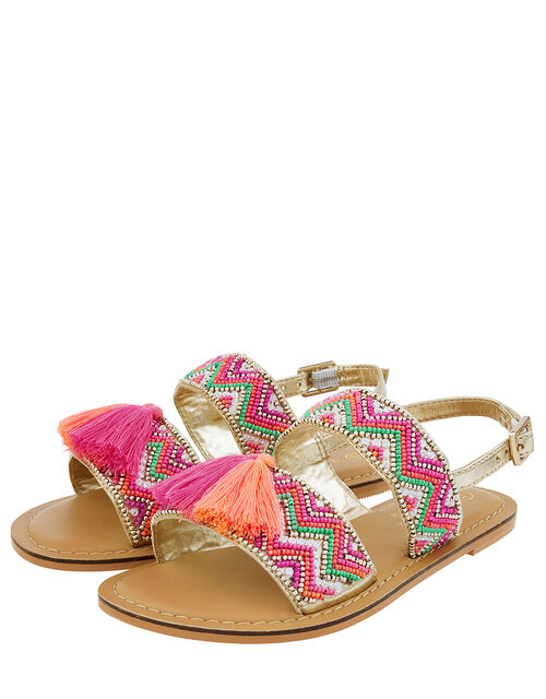 Chevron Beaded Tassel Sandals, Pink (PINK), large