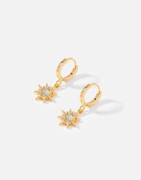 Gold-Plated Opal Hoop Earrings, , large