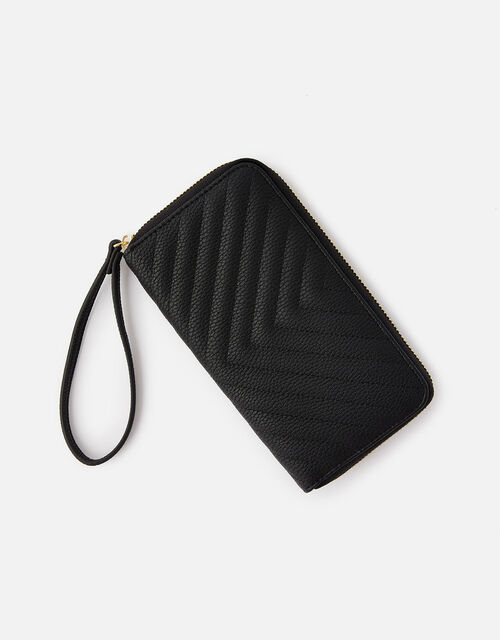 Quilted Phone Purse , Black (BLACK), large