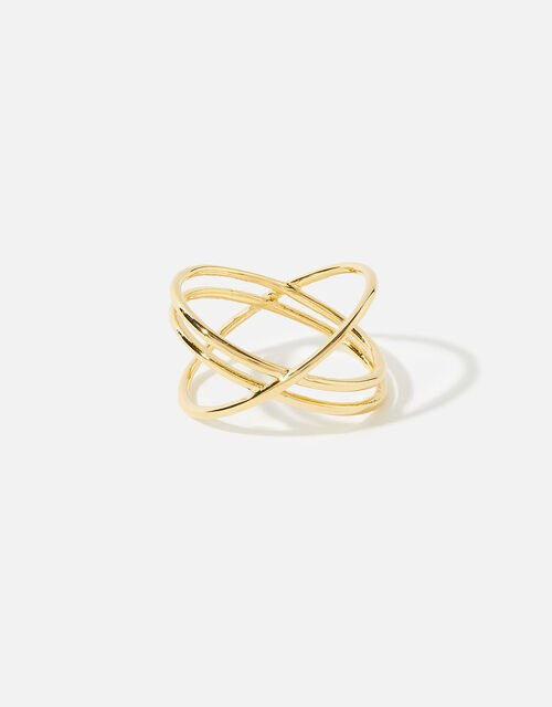 Gold-Plated Double Kiss Ring, Gold (GOLD), large