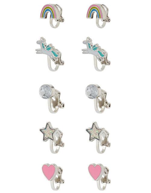 Unicorn Rainbow Clip-On Earring Multipack, , large