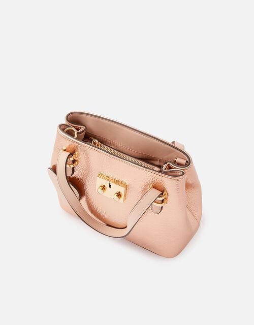 Metallic Heart Handheld Bag, Gold (ROSE GOLD), large