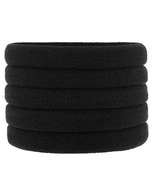 Thick Towelling Hair Band Multipack, Black (BLACK), large