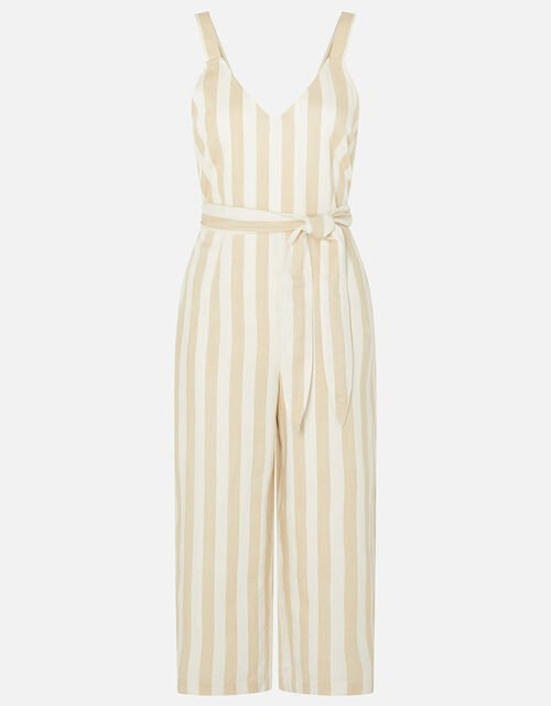 Stripe Belted Jumpsuit, Cream (CREAM), large