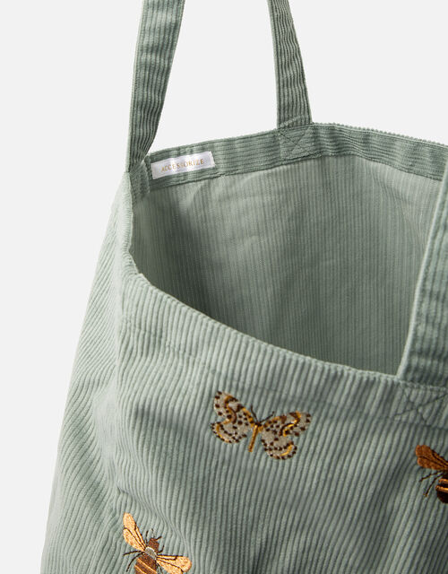 Insect Embroidered Cord Shopper Bag, Green (GREEN), large