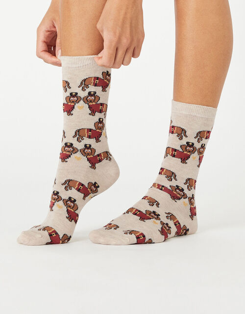 XMAS London Sausage Dog Socks, , large