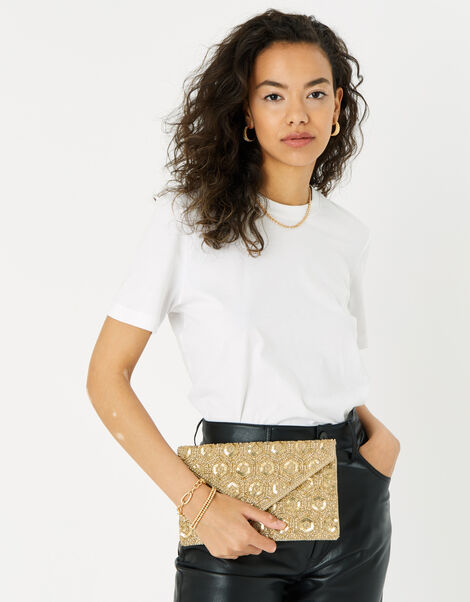 Tamara Embellished Clutch Bag Gold, Gold (GOLD), large