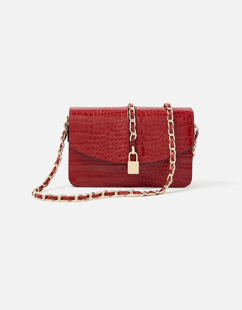 Alicia Padlock Cross-Body Bag, Red (RED), large