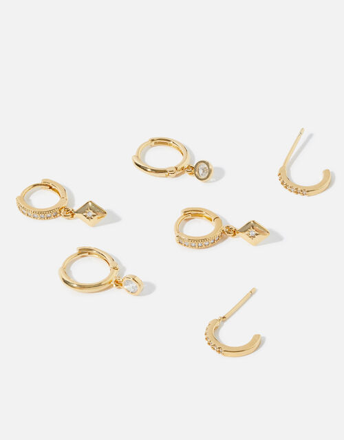 Gold-Plated Pave Hoop Multipack, , large