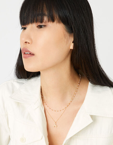 Gold-Plated Sparkle Horn Necklace, , large