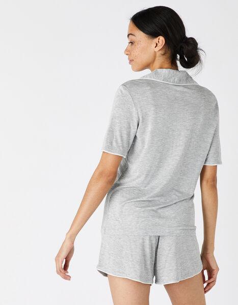 Jersey Shirt and Shorts Pyjama Set Grey, Grey (GREY), large
