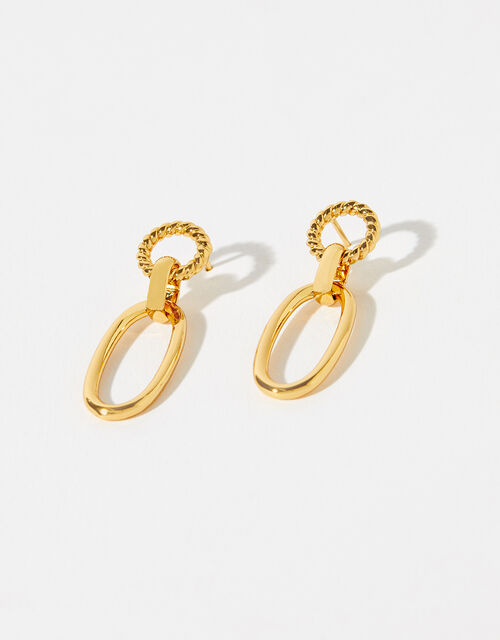 Gold-Plated Rope Link Drop Earrings, , large