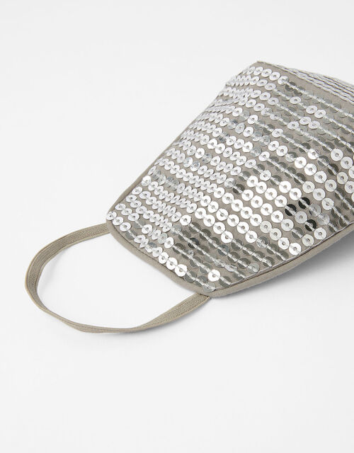 Sequin Sparkle Face Covering, Silver (SILVER), large