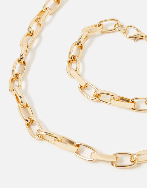 Medium Chain Necklace and Bracelet, Gold (GOLD), large