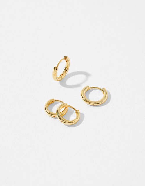 Gold-Plated Hoop Earring Set, , large