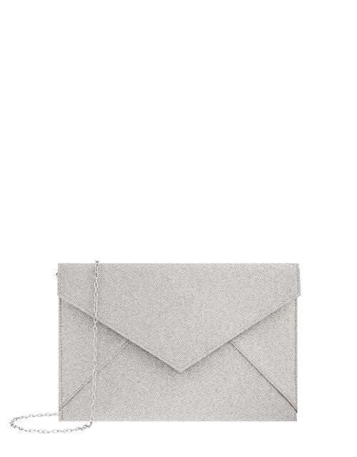 Lily Glitter Envelope Clutch Bag, Silver (SILVER), large