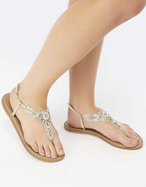 Athens Embellished Sandals, Metalic (METALLICS), large