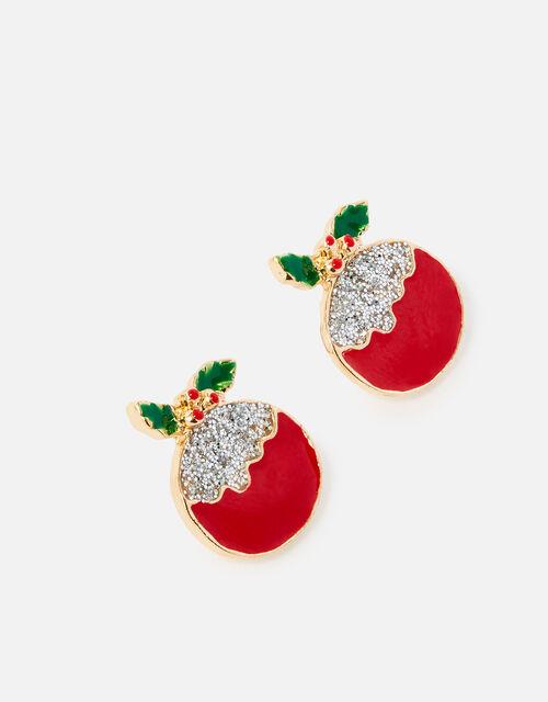 Christmas Pudding Stud Earrings, , large