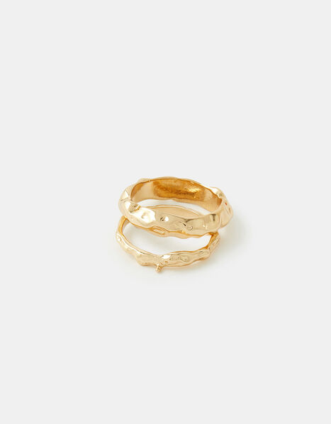 Chunky Molten Ring Set Gold, Gold (GOLD), large
