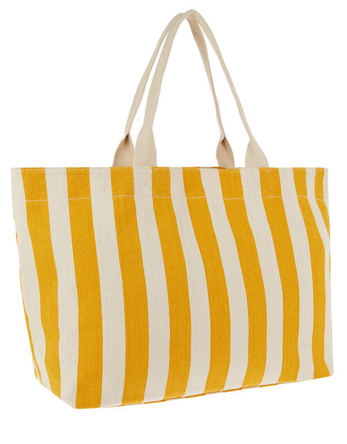 Woven Striped Tote Bag, Yellow (YELLOW), large