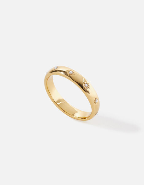 Pearl Star Band Ring Gold, Gold (GOLD), large