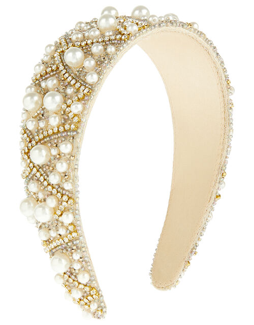 Pearl and Crystal Wide Headband, , large
