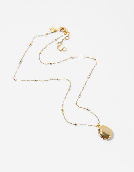 Gold-Plated Locket Pendant Necklace, , large
