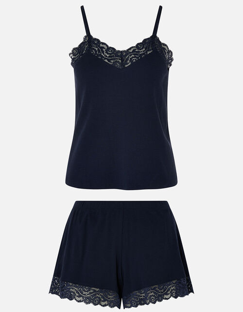 Lace Trim Rib Vest and Shorts Set, Blue (NAVY), large