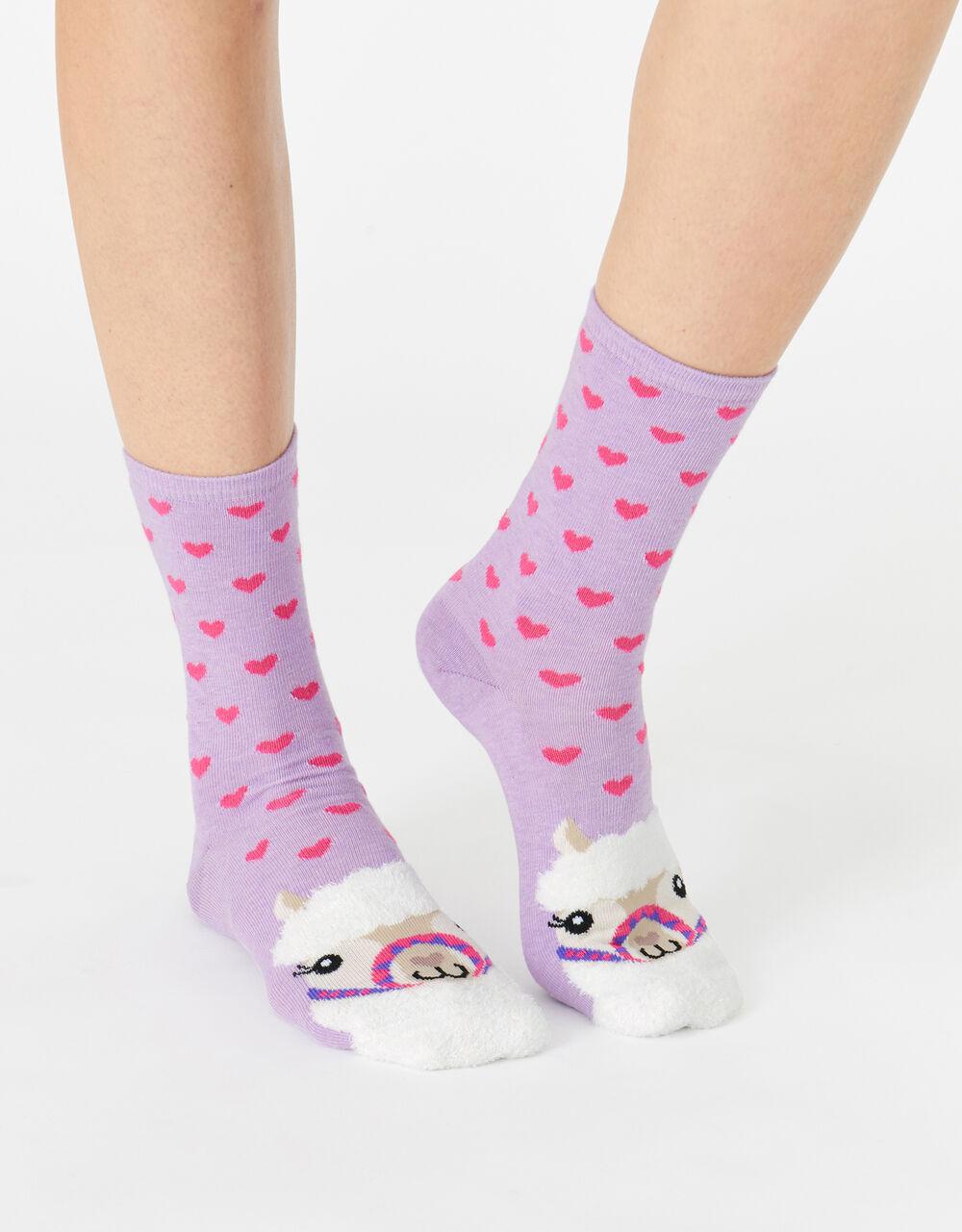 Lulu Llama Fluffy Face Socks , , large