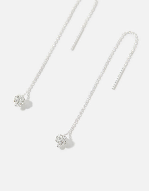 Sterling Silver Pave Ball Thread Earrings, , large