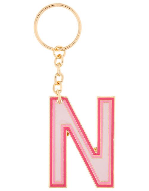 Enamel Metal Initial Keyring - N, , large