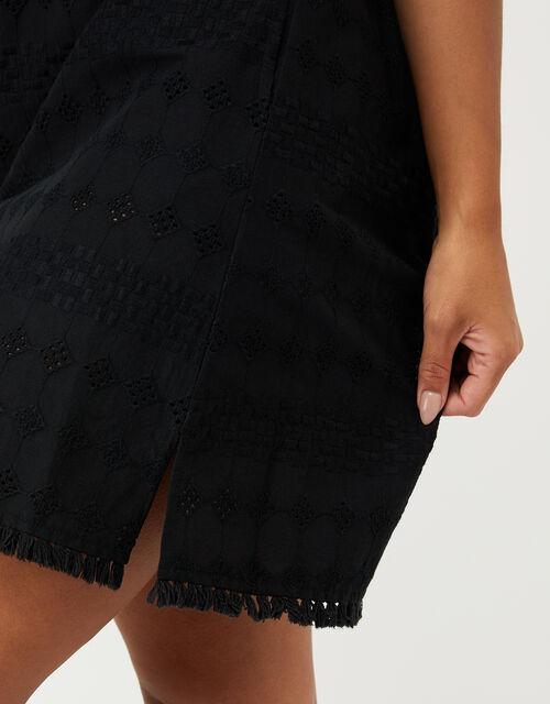 Off-Shoulder Schiffli Dress in Pure Cotton, Black (BLACK), large