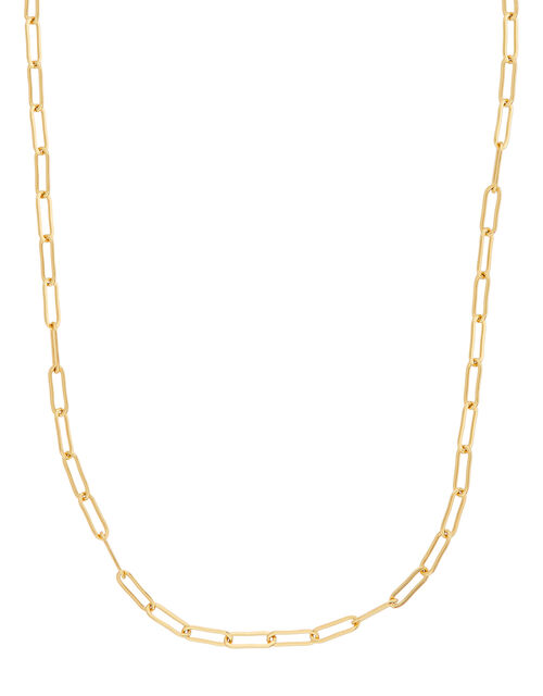 Gold-Plated Paperclip Chain Necklace, , large