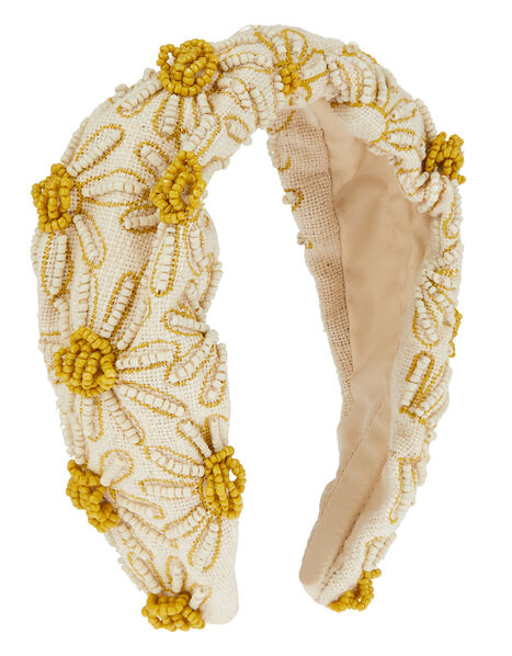 Daisy Beaded Wide Headband, , large
