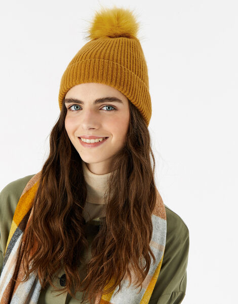 Knit Pom-Pom Beanie with Recycled Fabric Yellow, Yellow (OCHRE), large