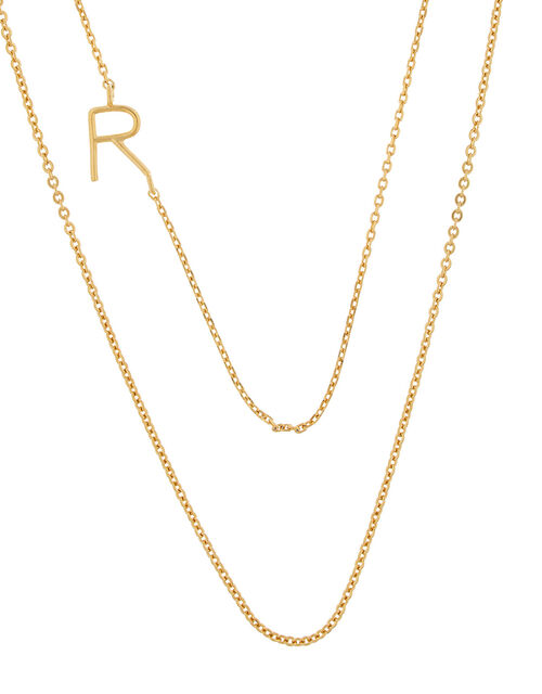 Gold-Plated Double Chain Initial Necklace - R, , large
