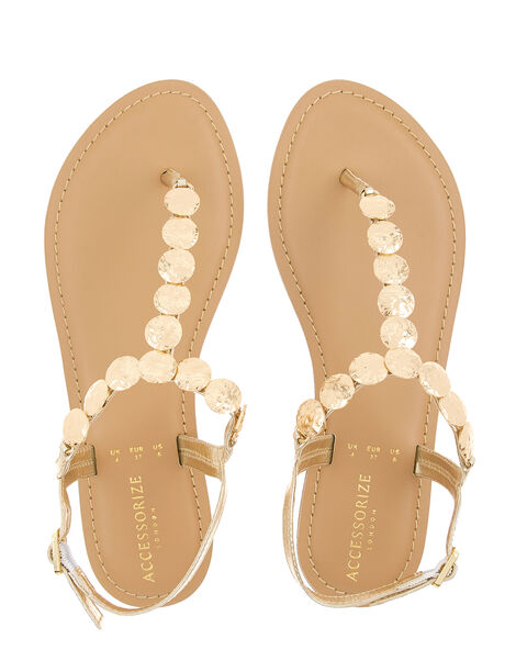 Athena Coin Metallic Sandals Gold, Gold (GOLD), large