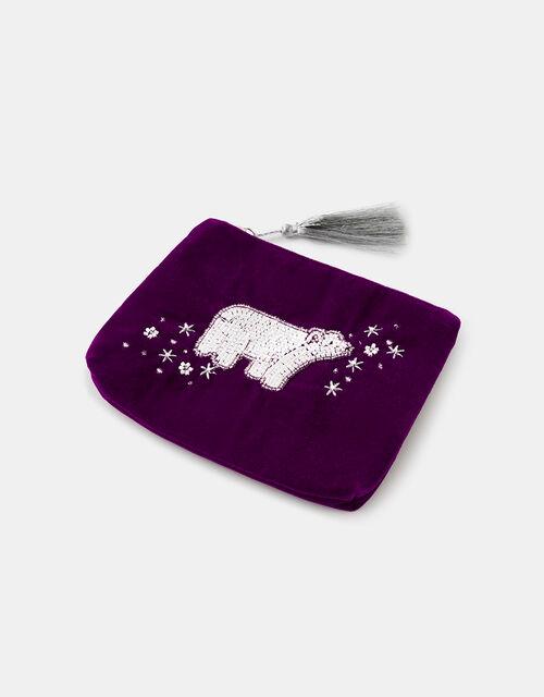 Embellished Polar Bear Velvet Pouch Bag, , large
