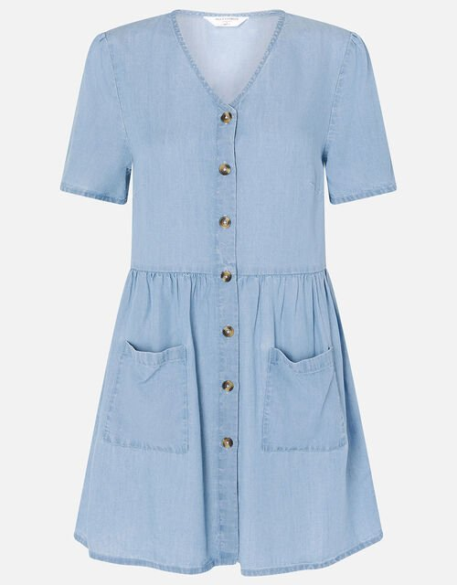 Chambray Mini Dress, Blue (BLUE), large