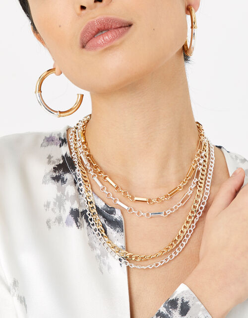 Mix Metal Chunky Layered Necklace, , large