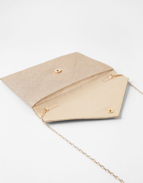 Lily Glitter Envelope Clutch Bag, Gold (GOLD), large