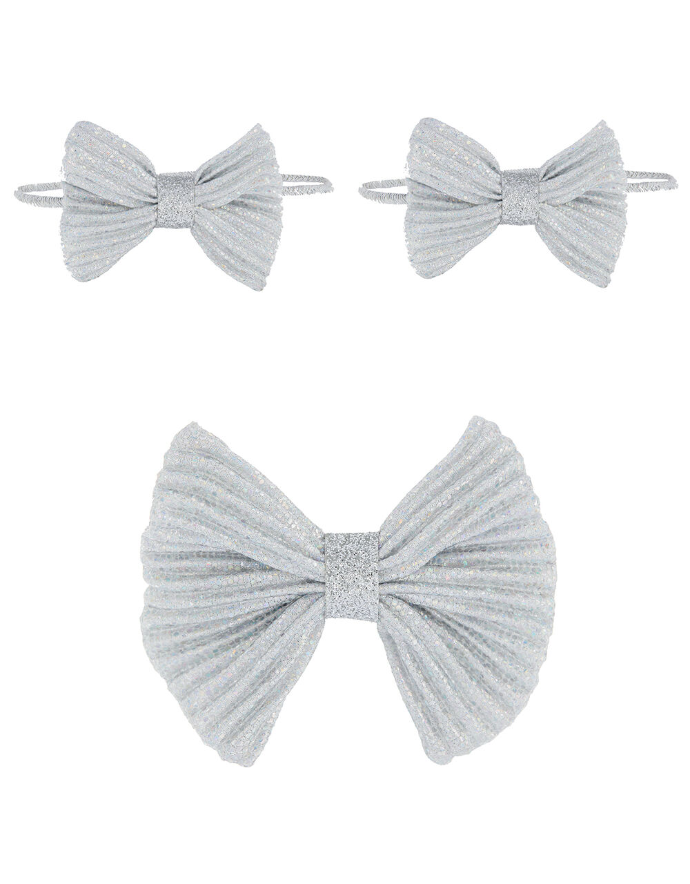 Shimmer Bow Hair Accessory Set, , large