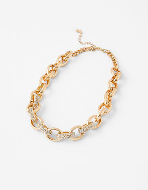 Pave Chunky Chain Collar Necklace, , large