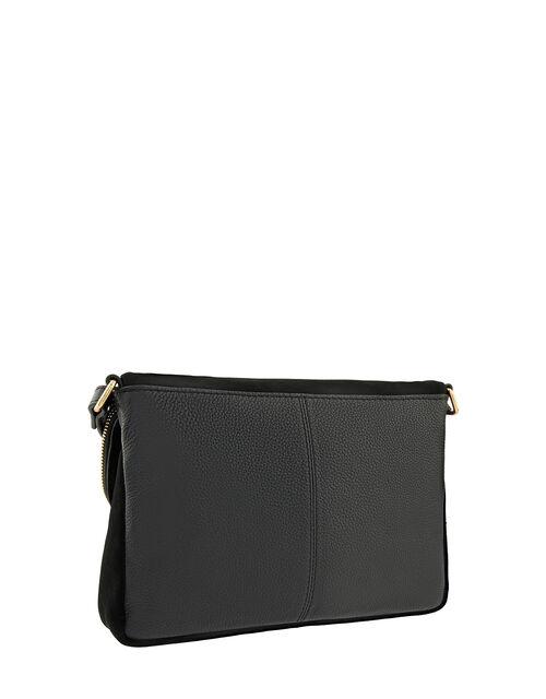 Sally Leather Cross-Body Bag, Black (BLACK), large