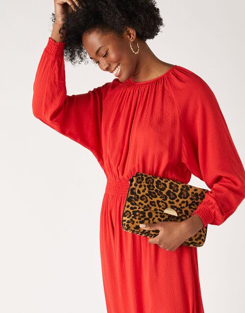 Leopard Wristlet Clutch Bag, , large