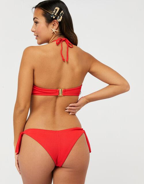 Basic Ribbed Bandeau Bikini Top, Red (RED), large